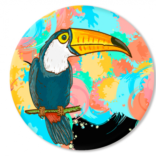"Round painting ""Toucan"""